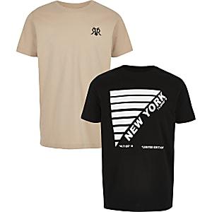 Multipack zwart en kiezelkleurig T-shirt voor jongens