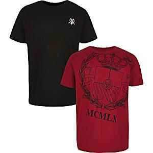 Multipack rood en zwart T-shirt met 'MCMLX'-print