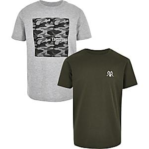 Multipack grijze en kaki T-shirts voor jongens