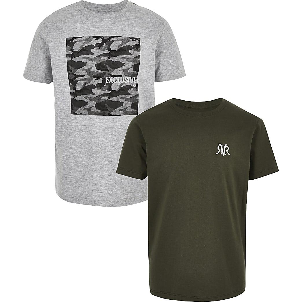 Boys grey and khaki T-shirt multipack