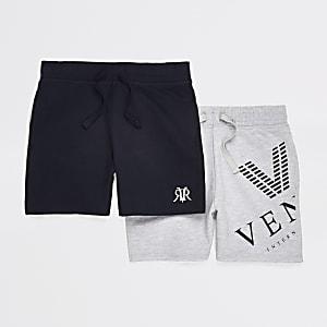 Multipack marineblauwe en grijze jersey short voor jongens