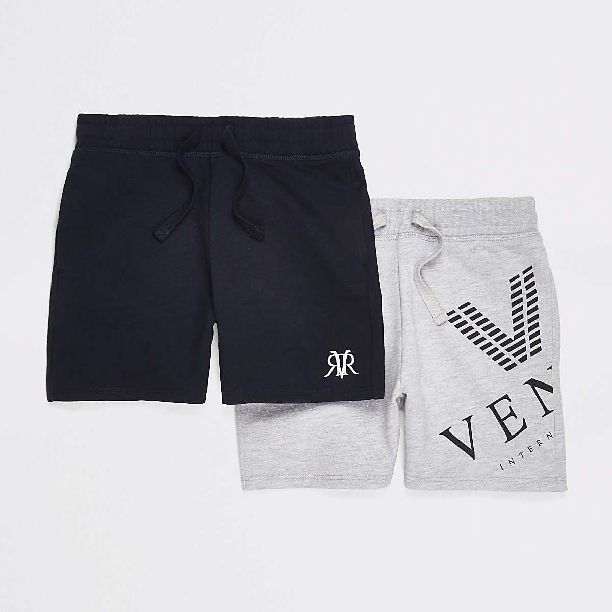 Boys navy and grey jersey shorts multipack