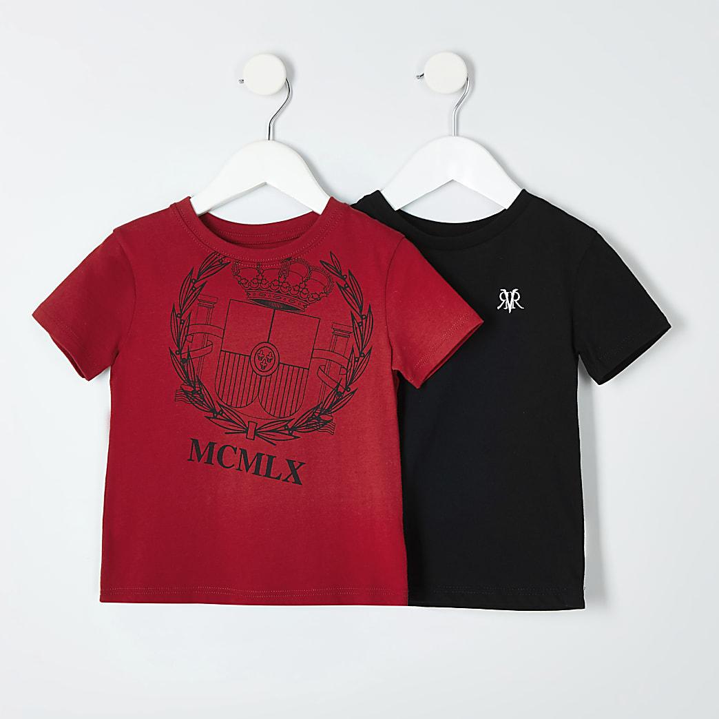 Mini garçon - Lot de t-shirts dont un rouge imprimé MCMLX
