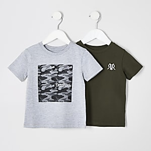 Mini boys grey and khaki T-shirt multipack