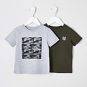 Mini boys grey and khaki T-shirt multipack