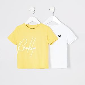 Mini boys yellow and white T-shirt multipack