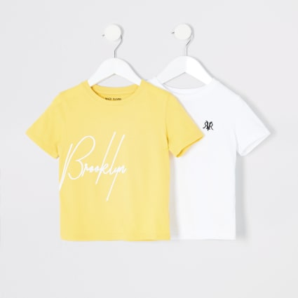Mini boys yellow and white T-shirt multipack