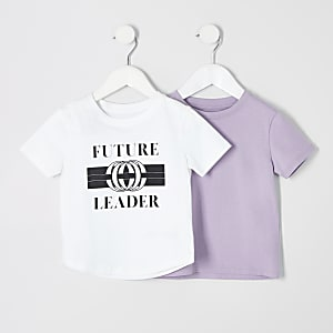 Mini - Multipack T-shirt met 'Future leader'-print voor jongens