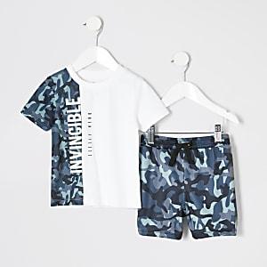 Mini - Outfit met wit T-shirt met camouflageprint voor jongens