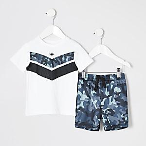 Mini - Witte outfit met T-shirt met zigzagmotief voor jongens