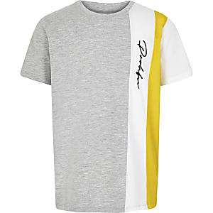 Boys grey colour block 'Prolific' T-shirt