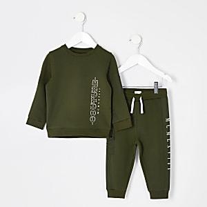 """Outfit für kleine Jungen mit Sweatshirt """"Couture""""  in Khaki"""
