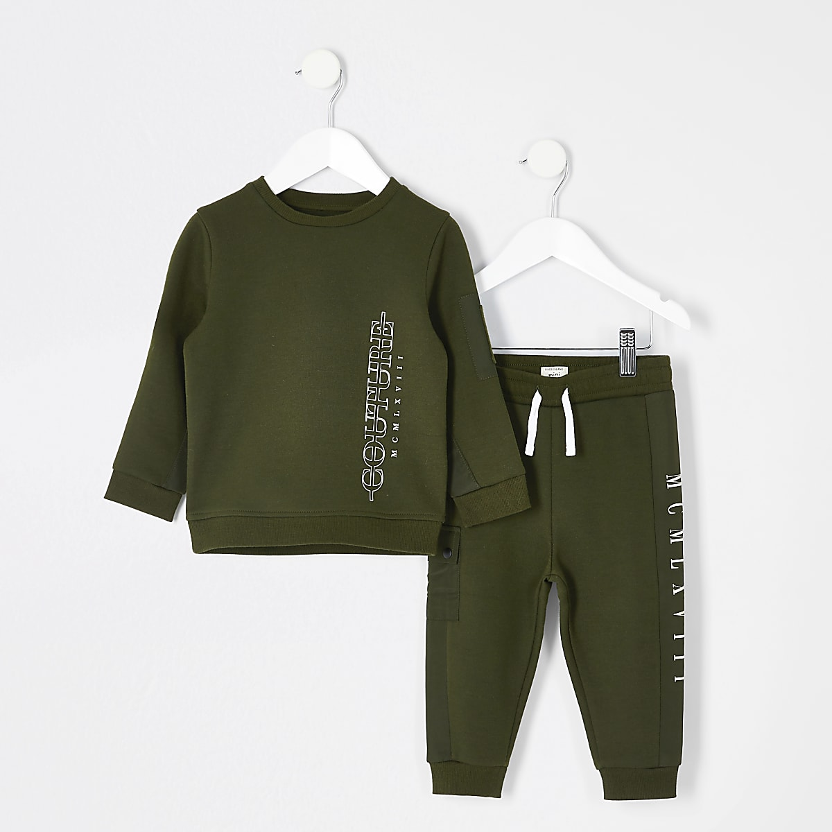 Mini boys khaki couture sweatshirt outfit