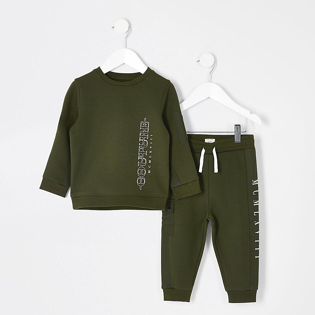 Mini boys khaki couture sweatshirt outfit