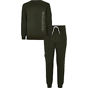Outfit für Jungen mit bedrucktem Utility-Sweatshirt in Khaki