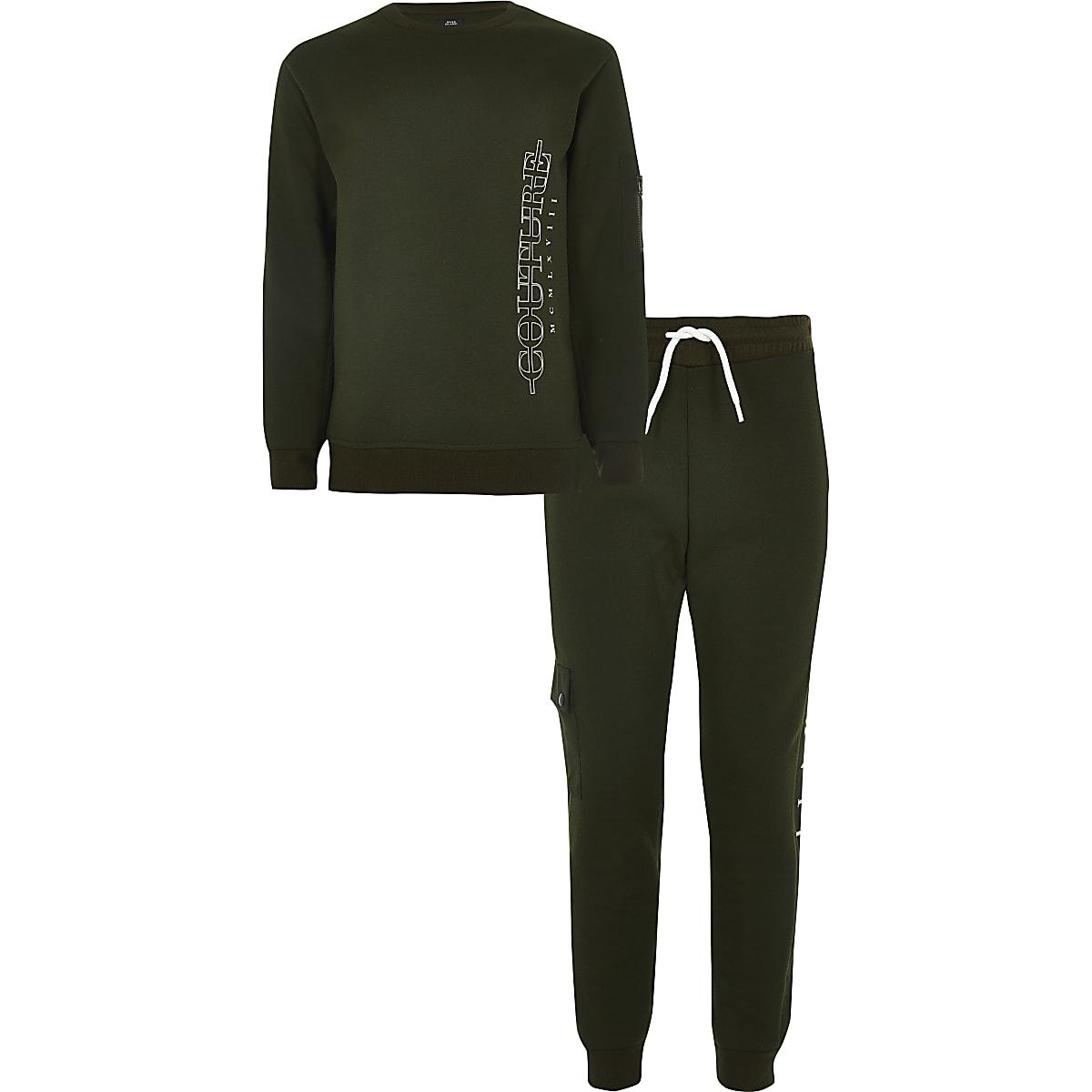 Outfit met kaki utility sweatshirt met print voor jongens