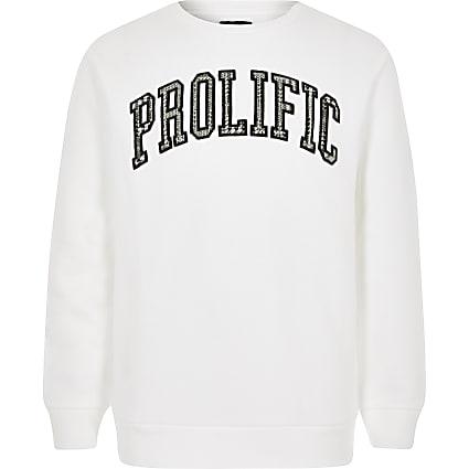 Boys white Prolific sweatshirt
