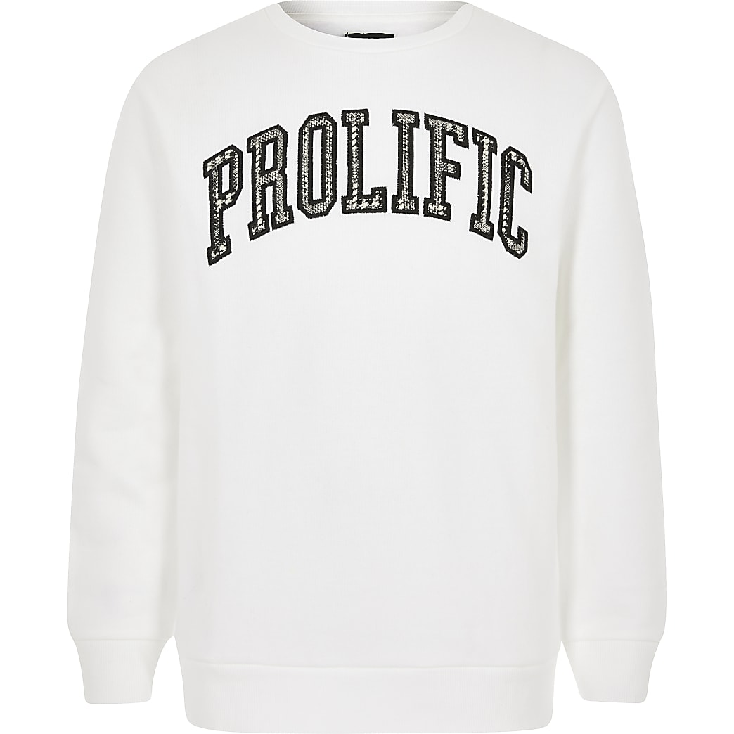 Boys white Prolific sweatshirt