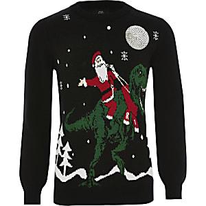 """Schwarzer Weihnachtspullover """"Santa"""" für Jungen"""
