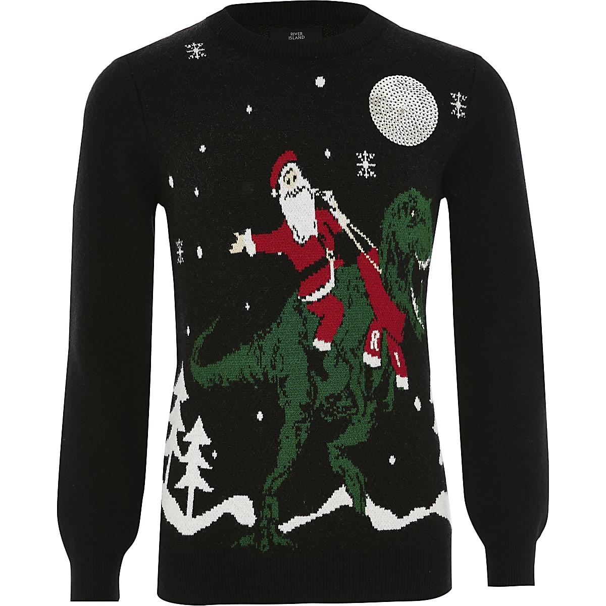 Boys Santa black Christmas jumper