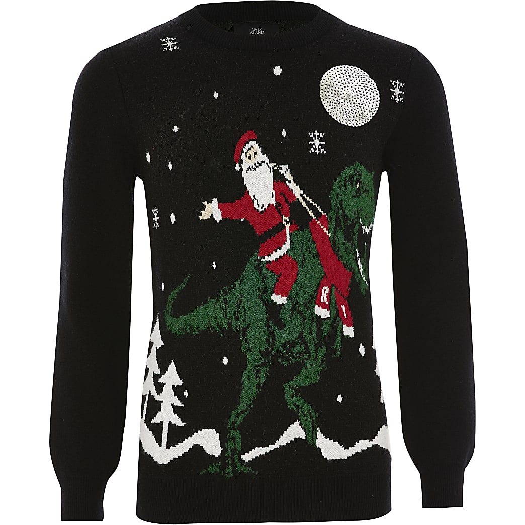 Zwarte Santa Kerst trui voor jongens