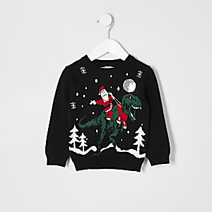 """Schwarzer Pullover """"Weihnachtsmann auf einem Dinosaurier"""" für kleine Jungen"""