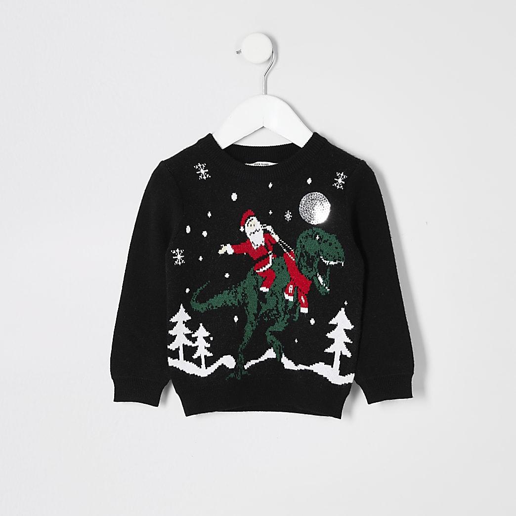 Mini boys black 'Santa on a dinosaur' jumper