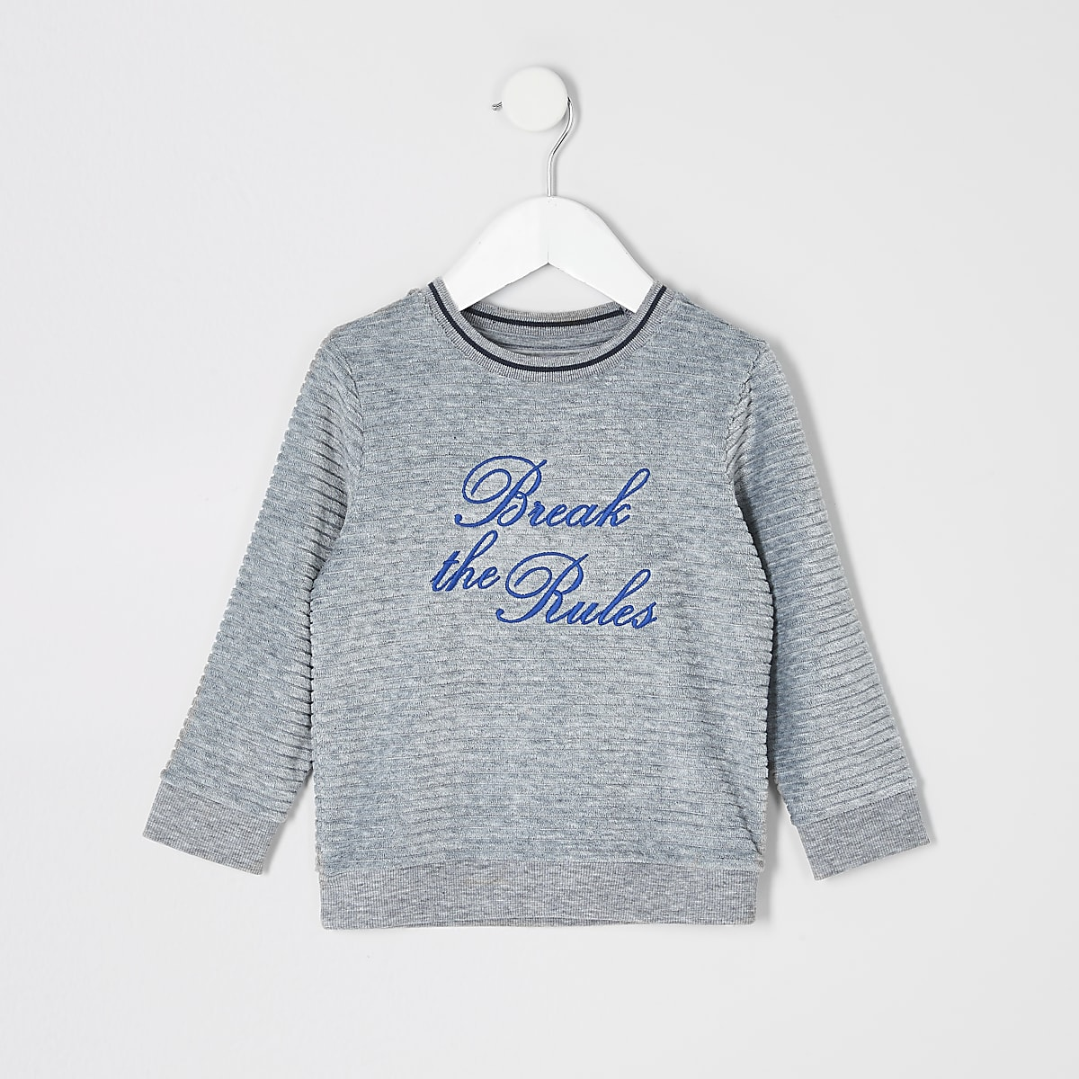 Mini boys grey 'Break the rules' jumper