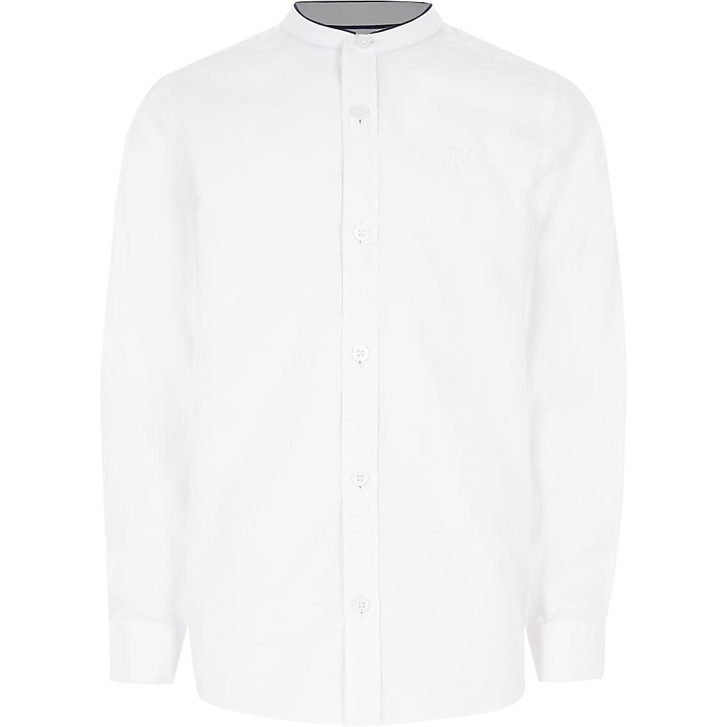 Boys white grandad collar long sleeve shirt