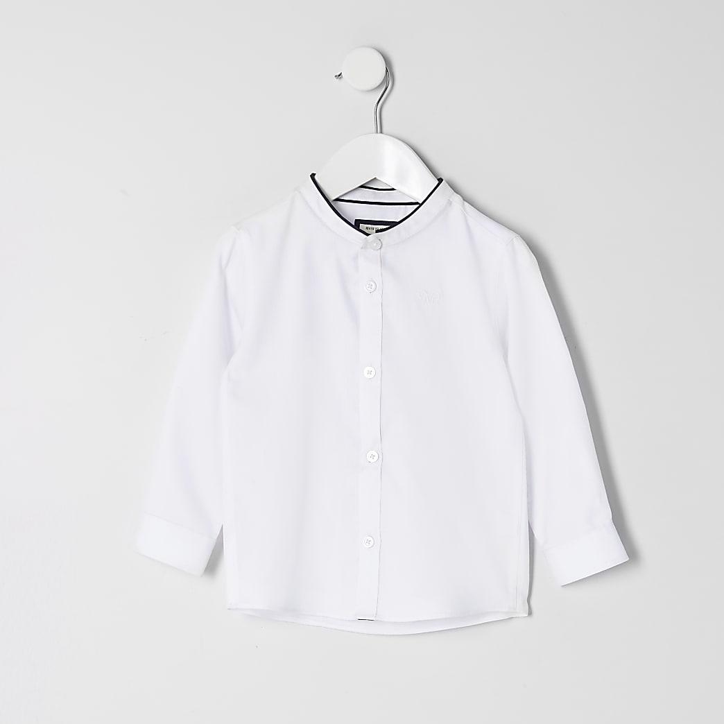 Mini boys white grandad collar shirt