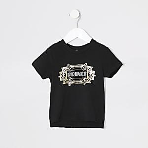 Mini - Zwart twinning T-shirt met 'Prince'-print voor jongens