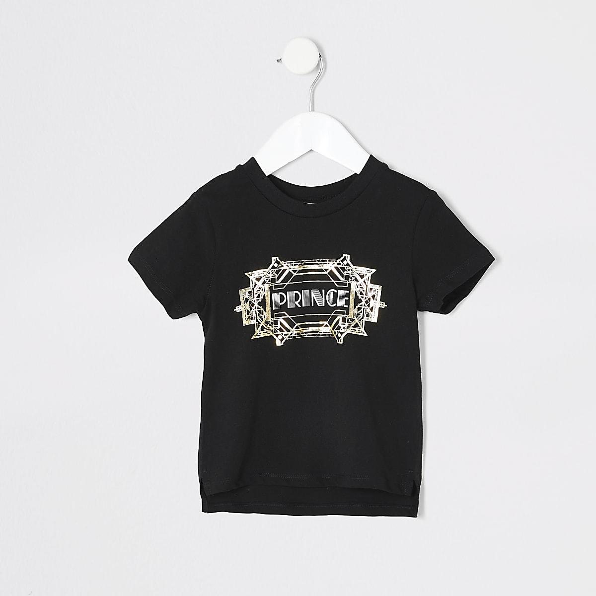 Mini boys black 'Prince' twinning T-shirt