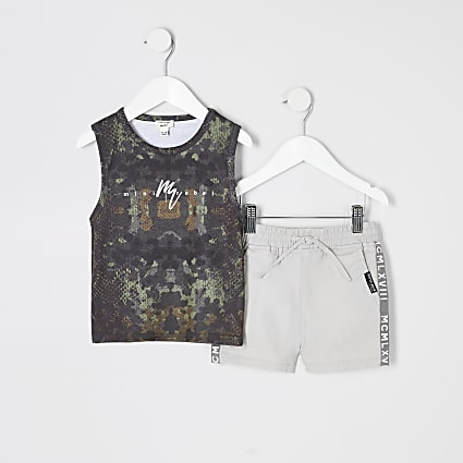 Mini boys khaki camo vest top outfit