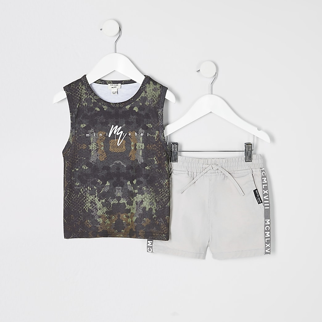 Mini boys khaki camo vest top outfit