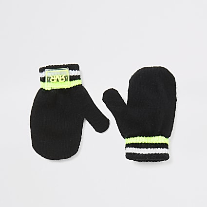 Mini boys black RVR knitted mitten gloves