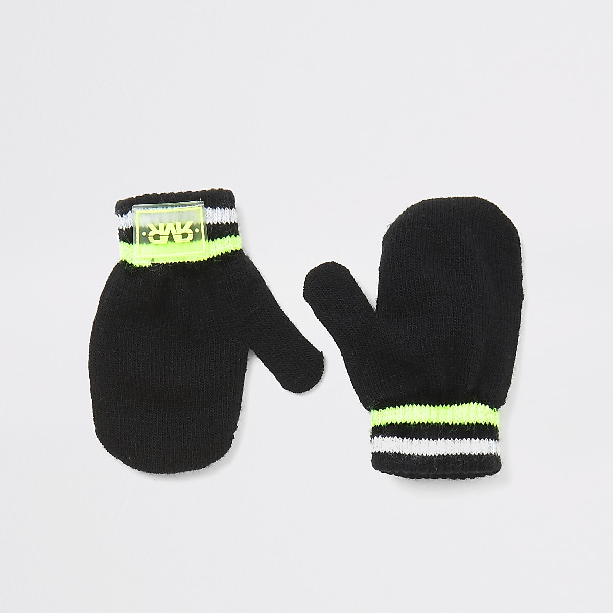 Mini boys black RVR knitted mitten gloves