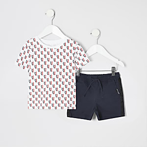 Mini boys RI monogram print T-shirt outfit