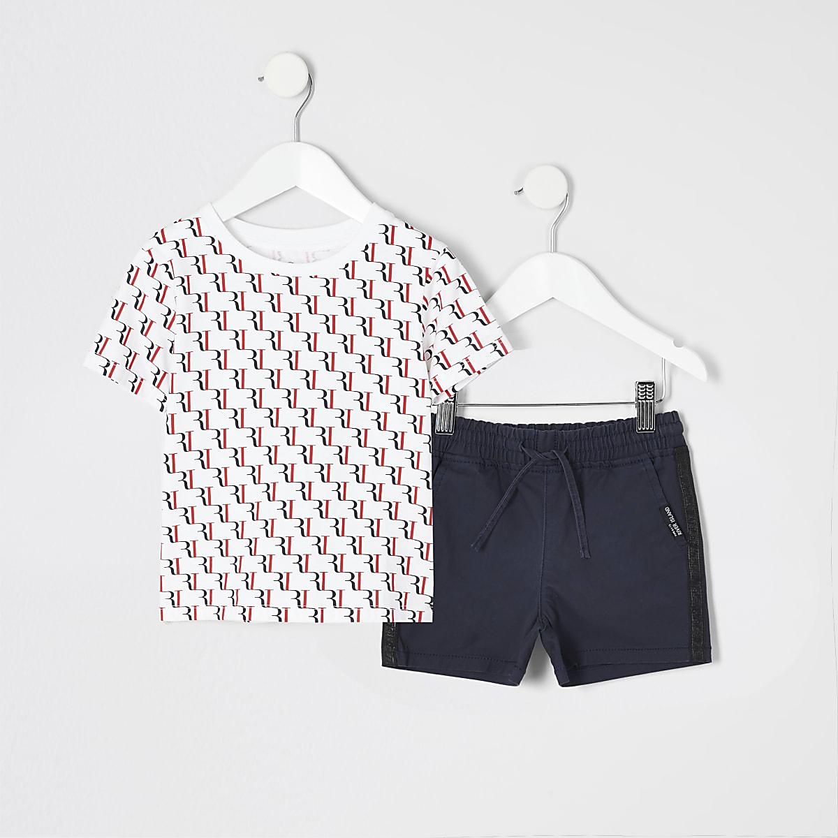 Mini boys RI monogram print T-shirt outfit