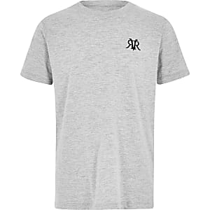 Boys grey marl RI embroidered T-shirt
