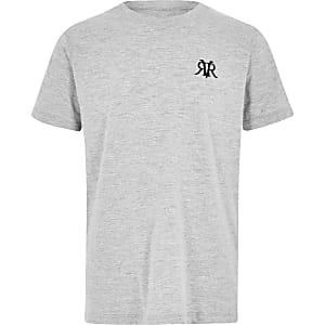 Grijs gemêleerd T-shirt met geborduurd RI-monogram voor jongens
