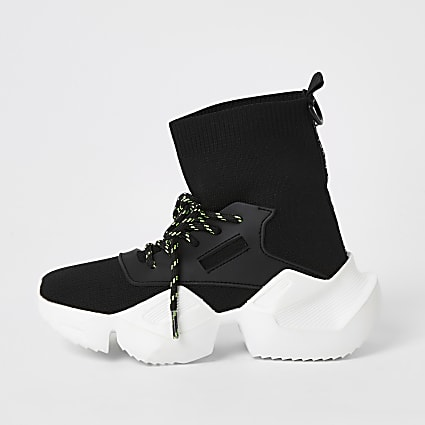 Kids black lace-up hi top sock trainers