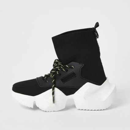 Boys black lace-up hi top sock trainers