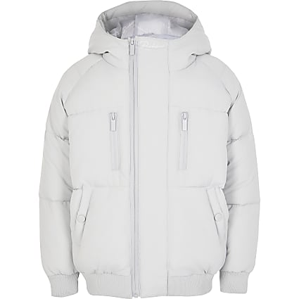 Boys grey Prolific tape padded puffer jacket