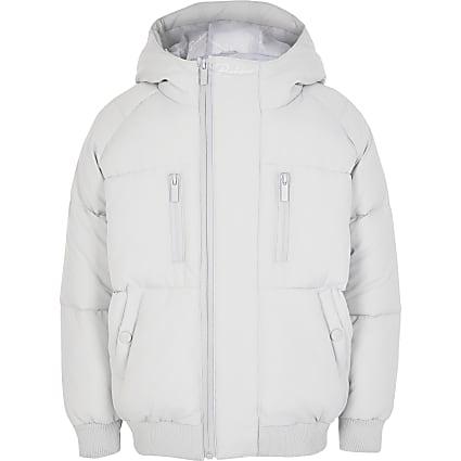 Boys grey Prolific tape padded puffer jacket