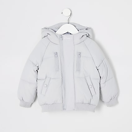Mini boys grey Prolific padded puffer jacket