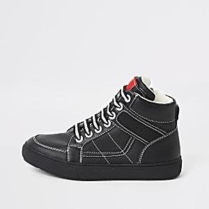 Zwarte hoge sneakers met contrasterend stiksel voor jongens