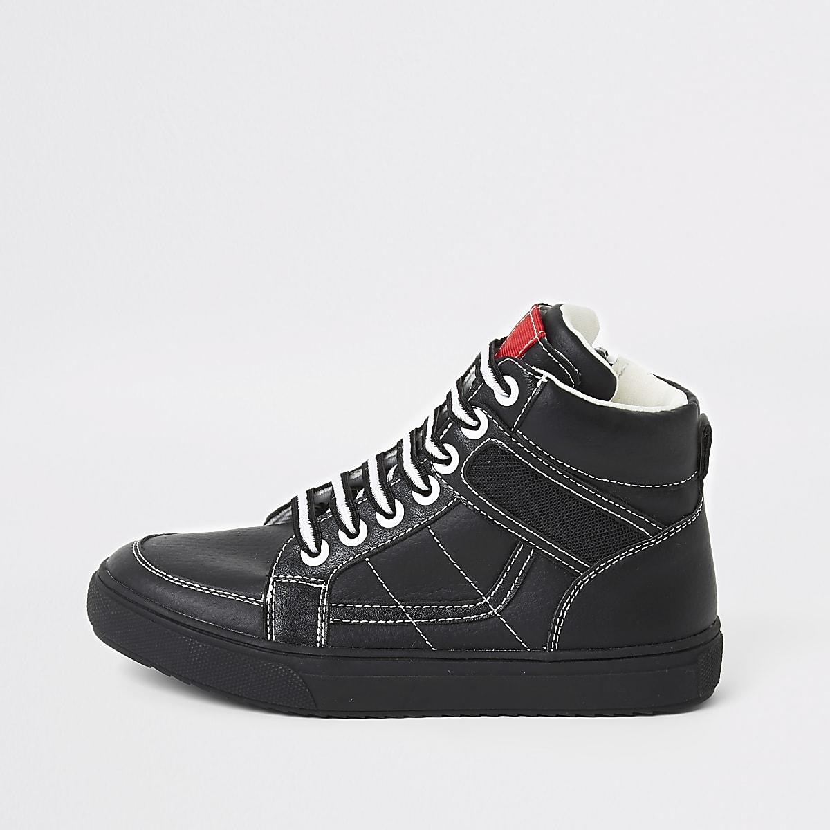 Schwarze High-Top-Sneaker mit Kontrastnähten für Jungen