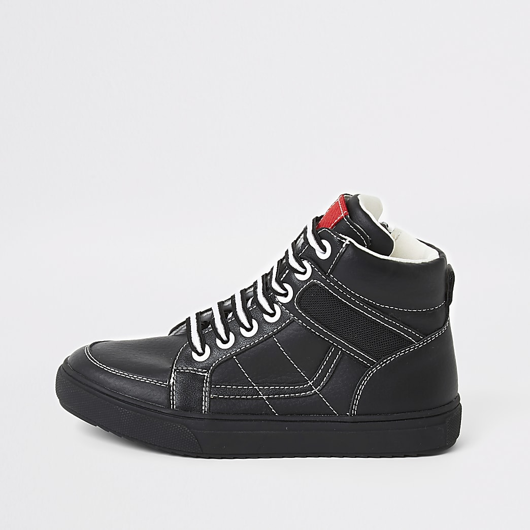 Boys black contrast stitch high top trainers