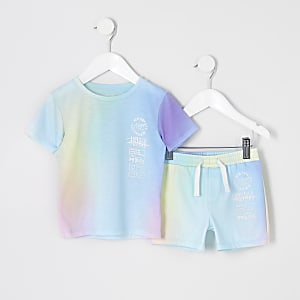 Mini - Pastelkleurige shortoutfit voor jongens