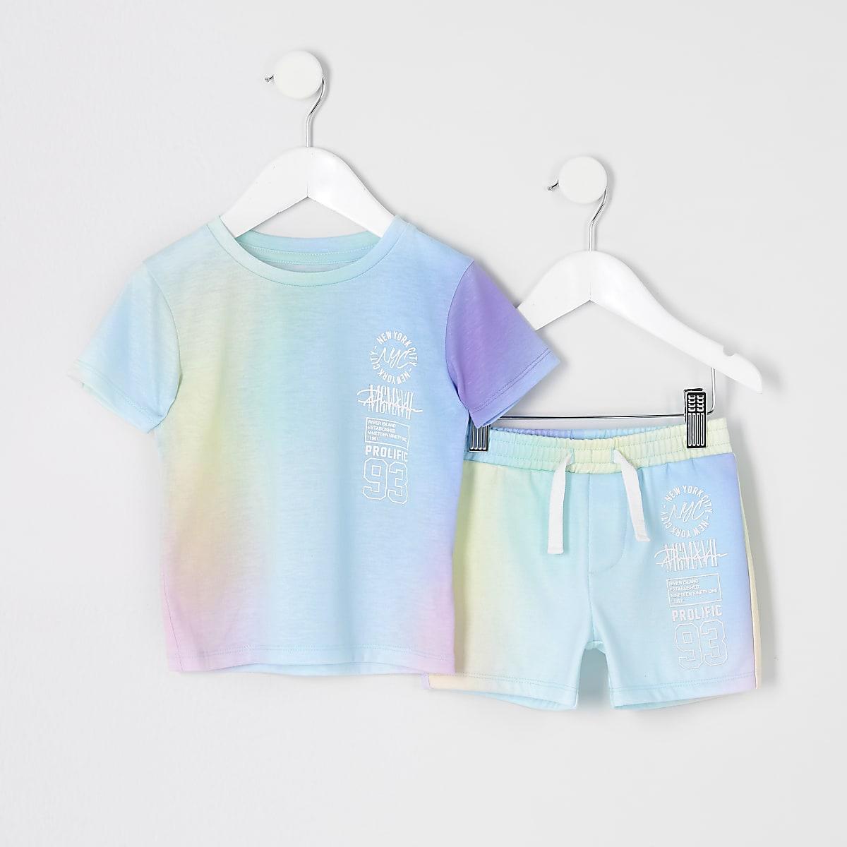 Mini boys pastel short outfit